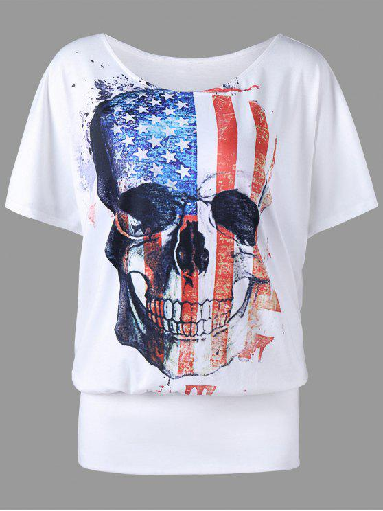 lady Plus Size American Flag Skull Print T-shirt - WHITE XL