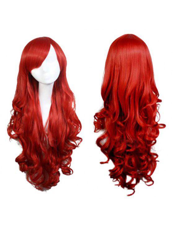 طويل الجانب بانغ متموجة الاصطناعية تأثيري أنيمي الباروكات - أحمر