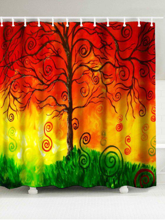 الإبداعية شجرة طباعة ماء دش الستار - Colormix W71 بوصة * L79 بوصة