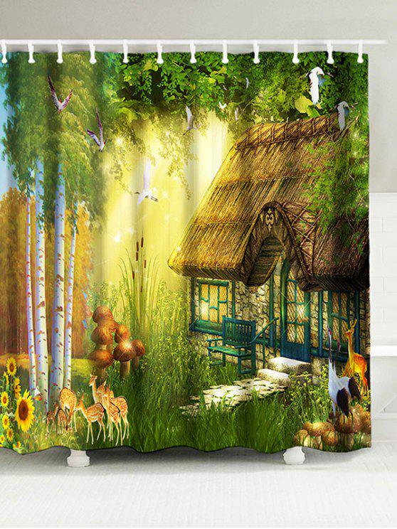Waterproof Bathroom Forest House Shower Curtain GREEN: Curtains W71 ...