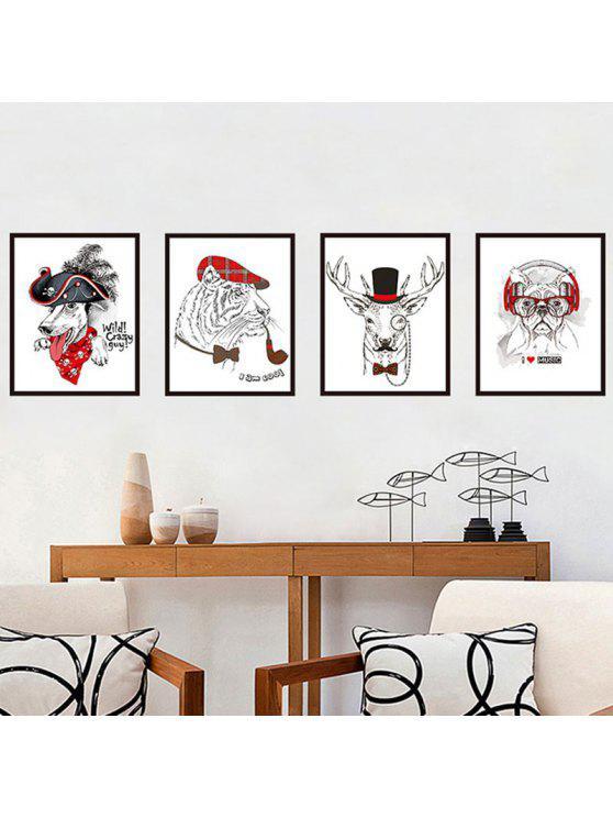 الكلب الأسد الغزلان نمط ملصقات الحائط - ملون