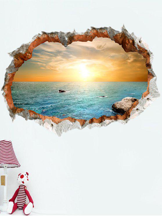 3d، متقطع، القرميد، ساحل البحر، الغروب، سور، ستيكر - ملون