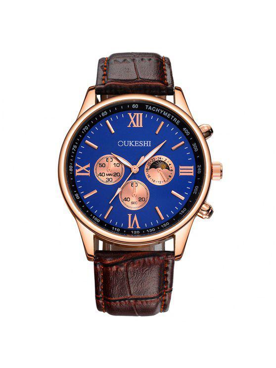 OUKESHI  ساعة شريطها بجلد اصطناعي - أزرق + براون