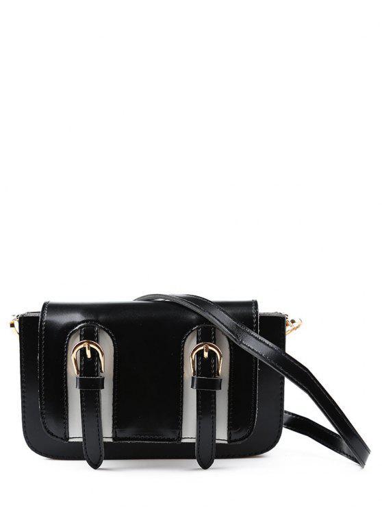 Doble hebilla Mini Cross Body Bag - Negro