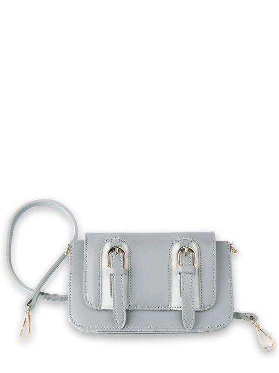 ladies Twin Buckles Mini Cross Body Bag - LIGHT GREY