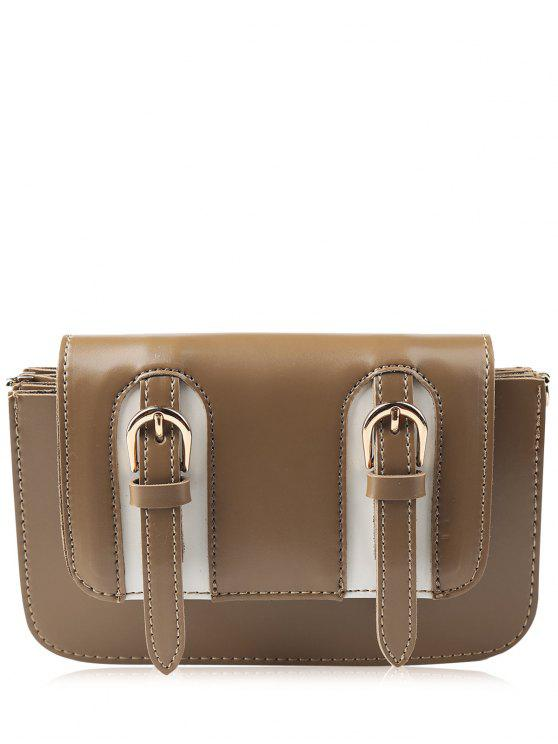 women's Twin Buckles Mini Cross Body Bag - BROWN
