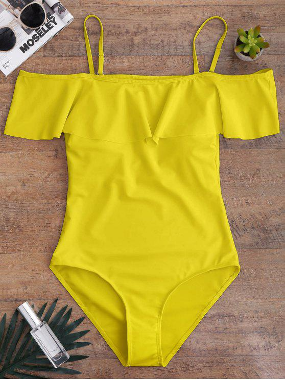 fashion Off The Shoulder Flounced One-Piece Swimwear - YELLOW M
