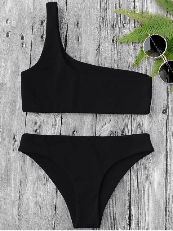outfits One Shoulder Bikini Set - BLACK L
