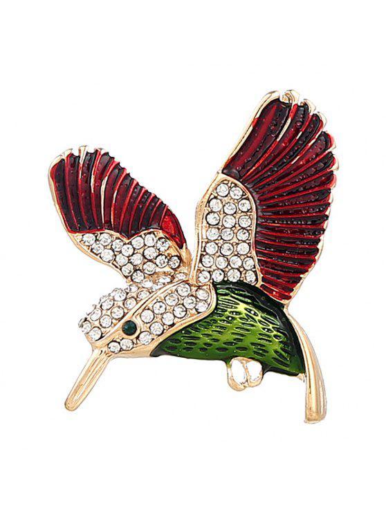 حجر الراين يطير الطيور بروش - أحمر