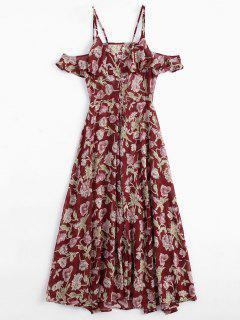 Floral Ruffles Cold Shoulder Maxi Dress - Floral M