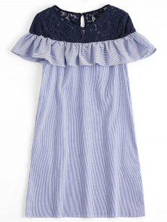 Lace Panel Stripes Constrasting Casual Dress - Stripe S