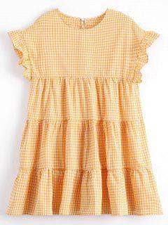 Checked Ruffles Shift Mini Dress - Checked L
