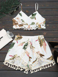 Cropped Ruffles Tropical Top And Tassels Layered Shorts - White Xl