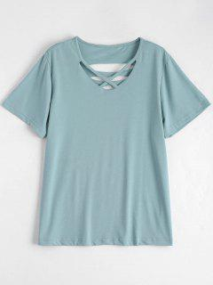 Cotton Ripped Criss Cross T-Shirt - Light Green Xl