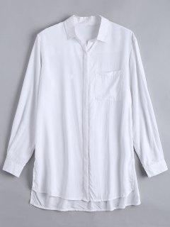 Longline High Low Slit Shirt - White Xs