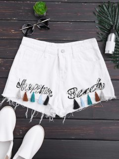 Cutoffs Tassels Beaded Embroidered Denim Shorts - White M
