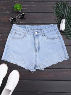Embroidered Scalloped Denim Shorts - Denim Blue S