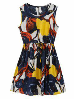 Sleeveless Abstract Print Drawstring Dress - Floral