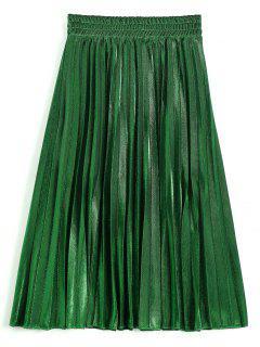 Metallic Color Shiny Midi Pleated Skirt - Deep Green M