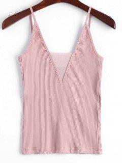 Gestricktes Voile-Panel Ribbed Tank Top - Pink M