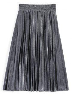 Metallic Color Shiny Midi Pleated Skirt - Silver M