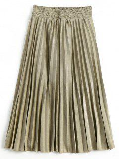 Metallic Color Shiny Midi Pleated Skirt - Golden M