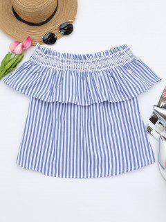 Schulterfreie Bluse Mit Rüschen Saum Und Streifen - Blau L