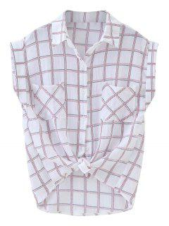 Knotted Pockets Curled Sleeve Grid Shirt - Plaid
