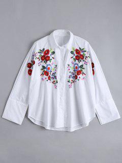 Loose Floral Brodé Haute Basse Chemise - Blanc L