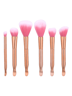 6Pcs Earpick Shaped Nylon Makeup Brushes Set - Rose Gold