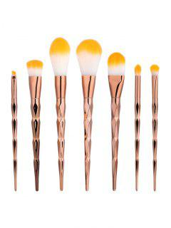 7Pcs Diamond Shaped Makeup Brushes Set - Rose Gold