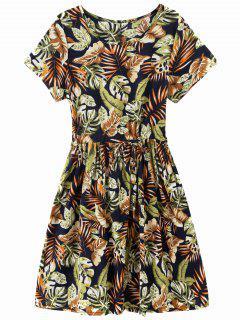 Drawstring Tropical Leaf Print Robe Longueur Au Genou - Floral