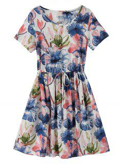 Drawstring Chinese Painting A Line Dress - Floral
