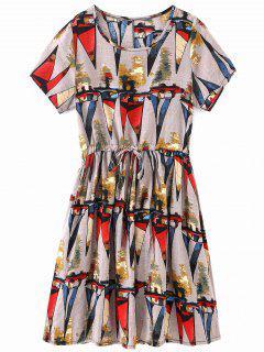 Self Tie Geometric Print A Line Dress