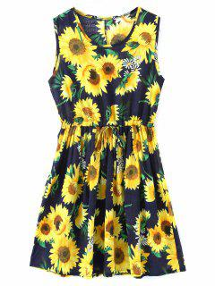 Sleeveless Sun Flower Drawstring Dress - Floral