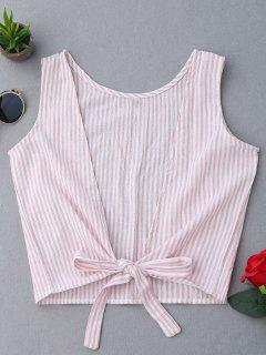 Plunging Neck Striped Tank Top - Pink S