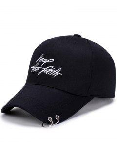 Double Metal Circle Letters Embellished Baseball Hat - Black