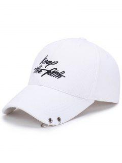 Double Metal Circle Letters Embellished Baseball Hat - White
