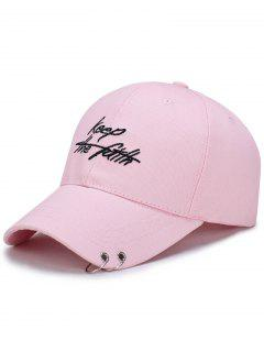 Double Metal Circle Letters Embellished Baseball Hat - Pink