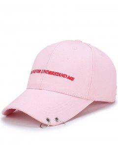 Double Circles Letters Embroidery Baseball Hat - Pink