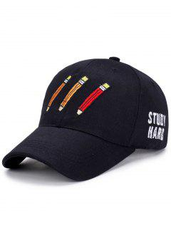 Cartoon Pencil Letters Embroidery Baseball Hat - Black