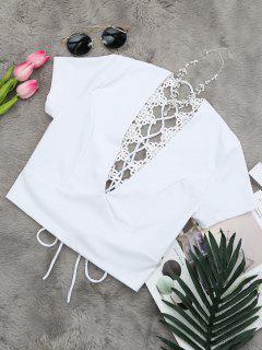 La Parte Posterior Del Cuello De Hundimiento Ata Para Arriba La Camiseta Del Cosecha - Blanco S