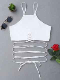 Zippered Criss Cross Crop Cami Top - White S