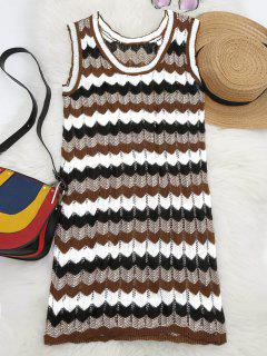 U Neck Graphic Sleeveless Knitted Dress - Multi