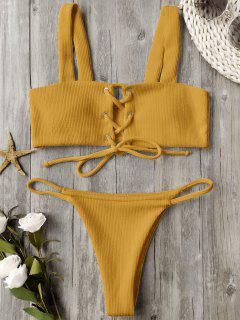 Ribbed Texture Lace Up Bathing Suit - Ginger L
