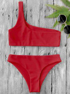 One Shoulder Bikini Set - Red M
