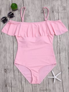 Off The Shoulder Flounced One-Piece Swimwear - Pink L
