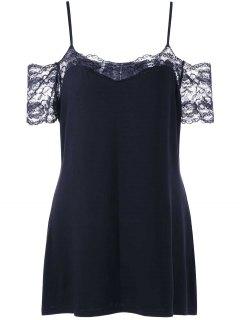 Plus Size Lace Trim Dew Shoulder T-shirt - Black 3xl