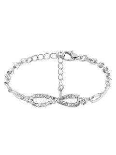 Bracelet Chaîne A Strass Infini 8 - Argent