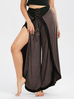Lace Up High Slit Palazzo Pants - Coffee L